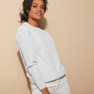 Pull col rond maille anglaise Blanc cassé: Vue 4