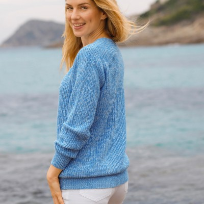 Pull col rond maille anglaise Bleu chiné: Vue 4