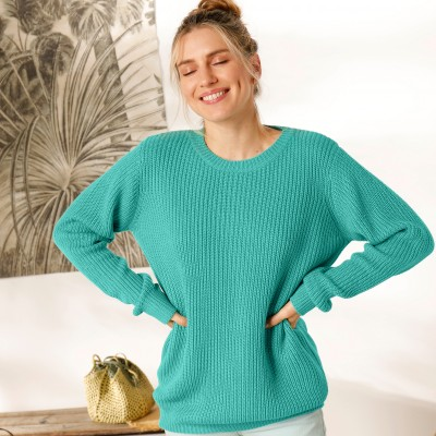 Pull col rond maille anglaise Vert: Vue 4