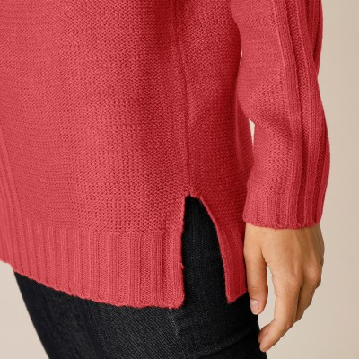 Pull femme col rond maille fantaisie Paprika: Vue 4