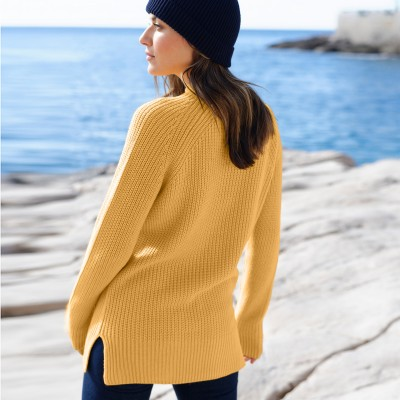 Pull col montant maille anglaise Miel: Vue 4
