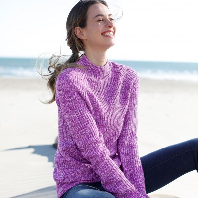 Pull col montant maille anglaise Prune chiné: Vue 4