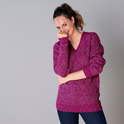 Pull col V maille anglaise Violine chiné: Vue 4