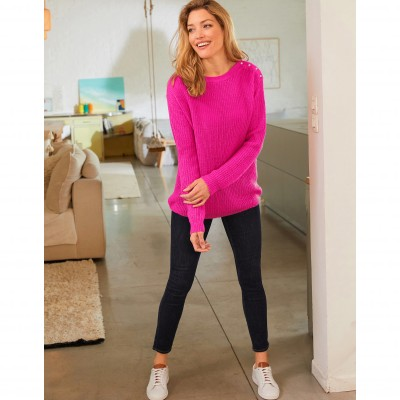 Pull col rond maille anglaise toucher mohair Rose: Vue 4