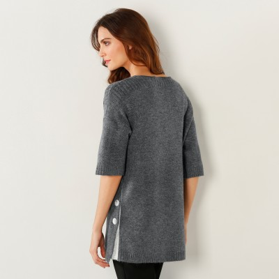 Pull poncho boutonné Anthracite: Vue 4