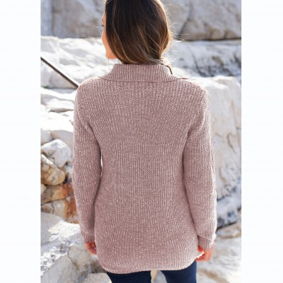 Gilet boutonné maille anglaise Taupe chiné: Vue 4
