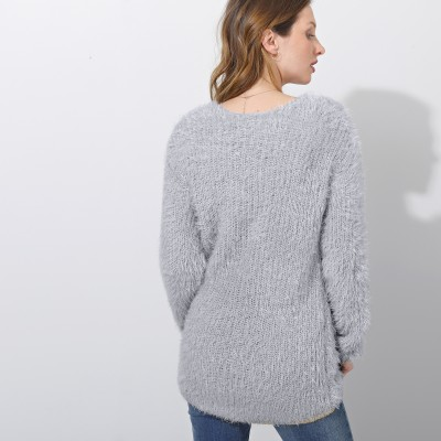 Pull col V maille perlée Gris perle: Vue 4