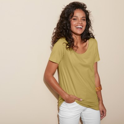Tee-shirt col rond uni Olive: Vue 4