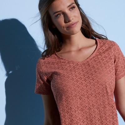 Tee-shirt col V broderie anglaise Terracotta: Vue 4