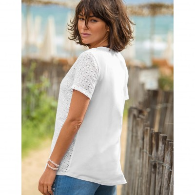 Tee-shirt col V broderie anglaise Blanc: Vue 4