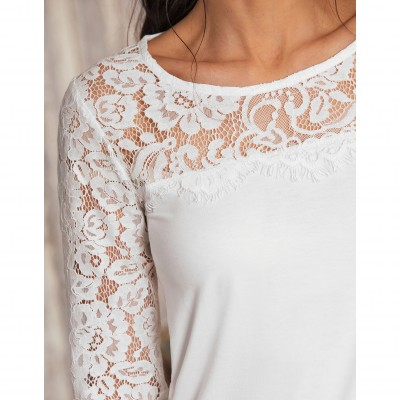 Tee-shirt col rond manches longues dentelle jersey Blanc: Vue 4