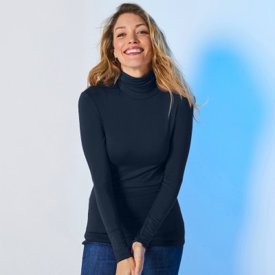Sous-pull col montant maille stretch Marine: Vue 4