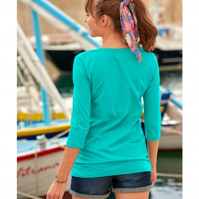 Tee-shirt manches 3/4 col rond uni Menthe: Vue 4