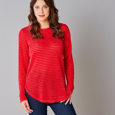 Sweat maille velours effet rayé Rouge: Vue 4