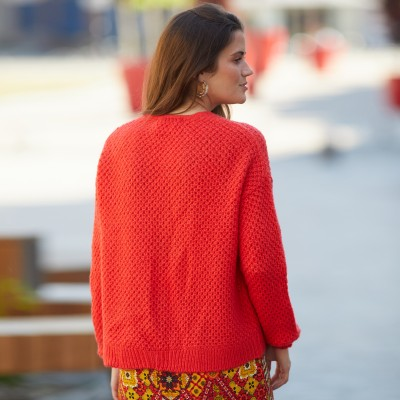 Gilet col V maille fantaisie Rouge: Vue 4