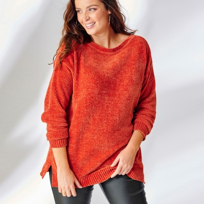 Pull boîte maille chenille manches longues Cuivre: Vue 4