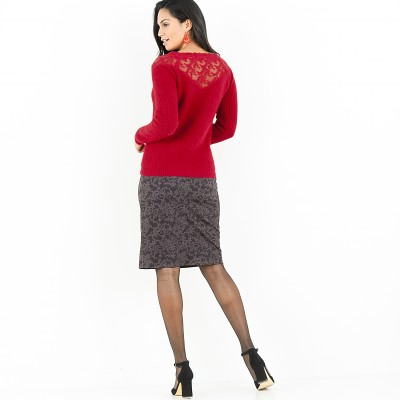 Pull tulle brodé manches longues Rouge: Vue 4