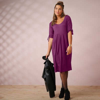 Robe unie manches coudes nouettes Prune: Vue 4