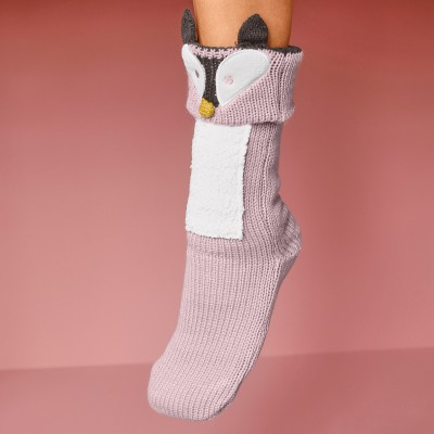 Chaussons-chaussettes cocooning - renard Taupe: Vue 4