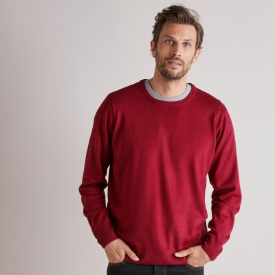 Pull uni col rond Rouge carmin: Vue 4