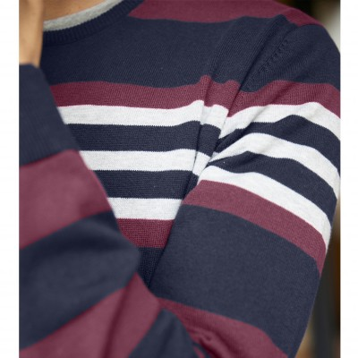 Pull rayé col rond manches longues Marine / bordeaux: Vue 4
