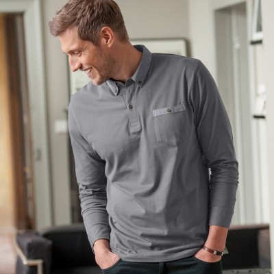 Polo manches longues jersey col chambray Anthracite: Vue 4