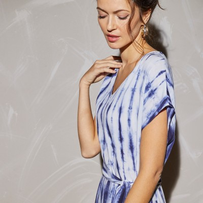 Robe longue maille tie and dye Bleu: Vue 5
