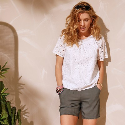 Top broderie anglaise Blanc: Vue 5