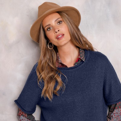 Pull poncho manches coudes Marine: Vue 5