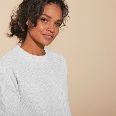 Pull col rond maille anglaise Blanc cassé: Vue 5