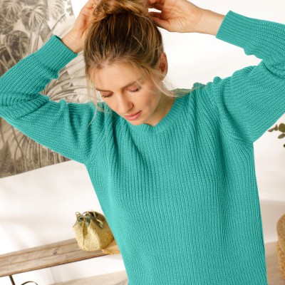 Pull col rond maille anglaise Vert: Vue 5