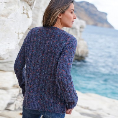 Pull col bateau maille bouclette Marine: Vue 5