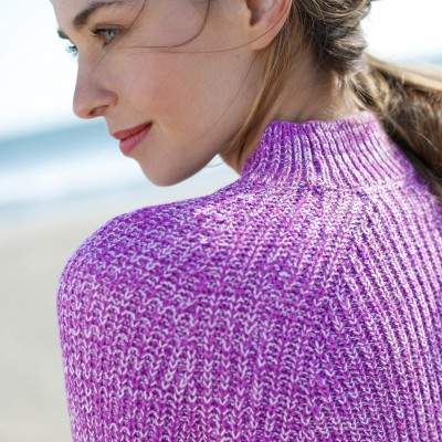 Pull col montant maille anglaise Prune chiné: Vue 5