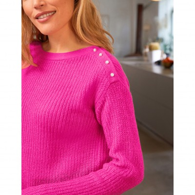 Pull col rond maille anglaise toucher mohair Rose: Vue 5