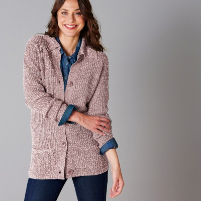 Gilet boutonné maille anglaise Taupe chiné: Vue 5