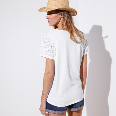 Tee-shirt col V broderie anglaise Blanc: Vue 5