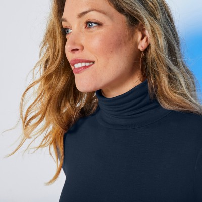 Sous-pull col montant maille stretch Marine: Vue 5