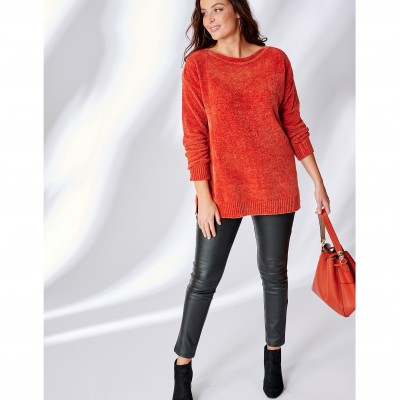 Pull boîte maille chenille manches longues Cuivre: Vue 5