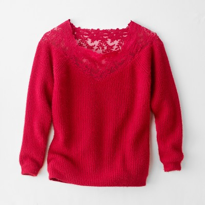 Pull tulle brodé manches longues Rouge: Vue 5