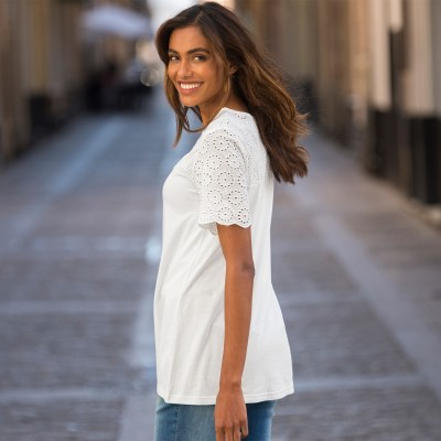 Tee-shirt broderie anglaise Blanc: Vue 5