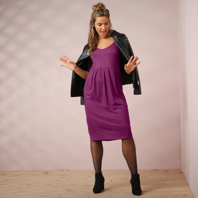 Robe unie manches coudes nouettes Prune: Vue 5