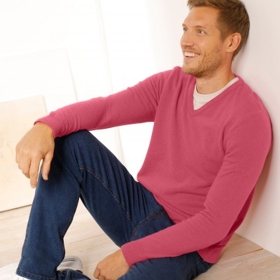 Pull col V 80% laine Pourpre: Vue 5