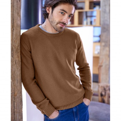 Pull col rond maille fantaisie manches longues Cuivre: Vue 5