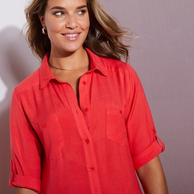 Robe-chemise - rouge Rouge: Vue 6