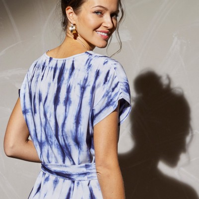 Robe longue maille tie and dye Bleu: Vue 6