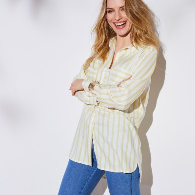 Chemise rayée manches longues Blanc / anis: Vue 6