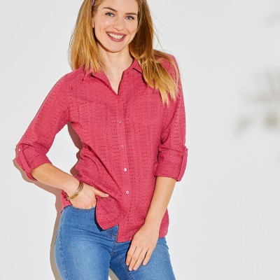 Chemise broderie anglaise unie Vieux rose: Vue 6