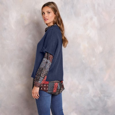 Pull poncho manches coudes Marine: Vue 6