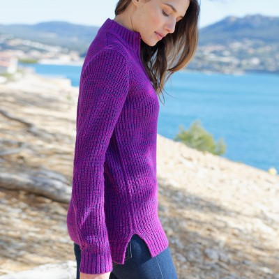 Pull col montant maille anglaise 30% laine Violine chiné: Vue 6