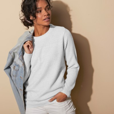 Pull col rond maille anglaise Blanc cassé: Vue 6